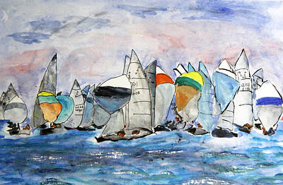 Poster featuring the painting Figawi Dash by Michael Helfen