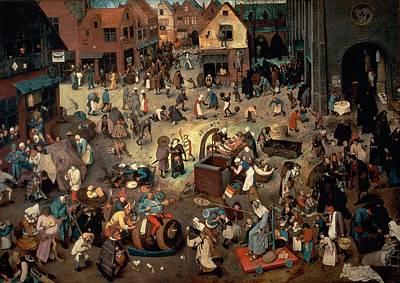 Fight Between Carnival And Lent, 1559 Oil On Oak Panel Poster by Pieter the Elder Bruegel