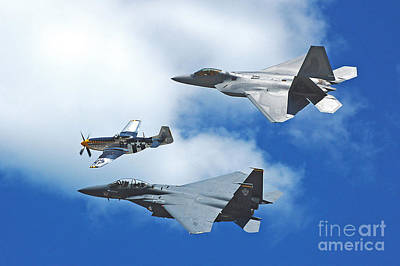 Poster featuring the photograph Fighter Jets Old And New by Stephen Flint