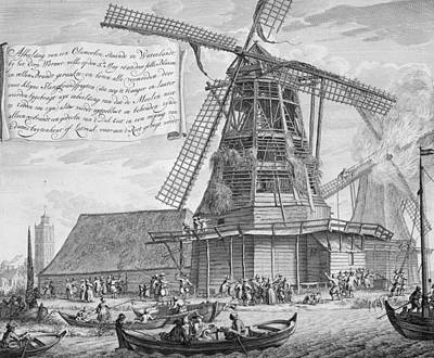 Fighting A Fire In A Windmill Poster by Dutch School