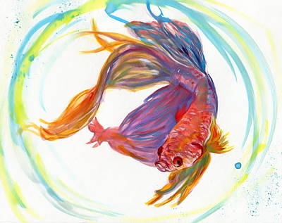 Fighting Fish Poster by Raquel Ventura