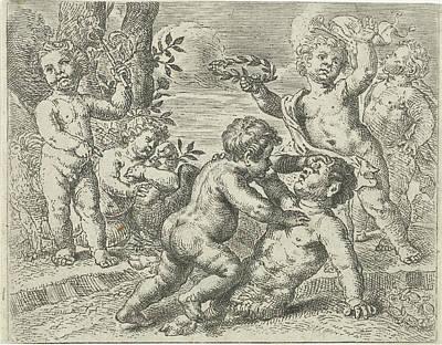 Fighting Putti, Peter Van Lint Poster