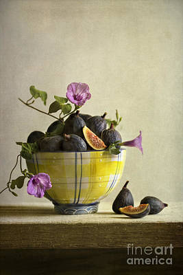 Figs In Yellow Bowl Poster by Elena Nosyreva