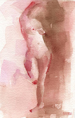Figure Red Brown Magenta Watercolor Painting Poster by Beverly Brown