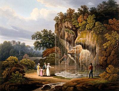 Figures By A Waterfall, 1825 Poster by Francis Nicholson