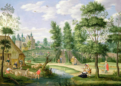 Figures In The Grounds Of A Country House Oil On Copper Poster by Isaak van Oosten