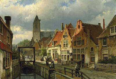 Figures On A Canal In Oudewater Poster by Willem Koekkoek