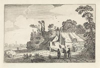 Figures On A Country Road Near A Farm, Jan Van De Velde II Poster