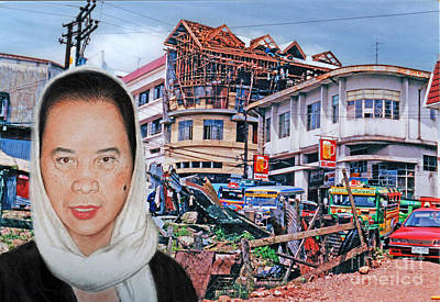 Filipina Woman And Her Earthquake Damage City Version II Poster by Jim Fitzpatrick
