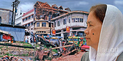 Filipina Woman And Her Earthquake Damage City Version IIi Poster