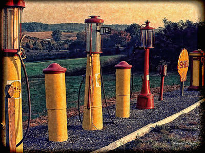 Fill 'er Up Vintage Fuel Gas Pumps Poster