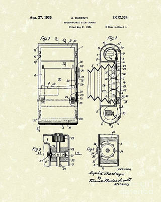 Film Camera 1935 Patent Art Poster by Prior Art Design