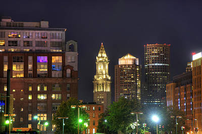 Financial District At Night - Boston Poster by Joann Vitali