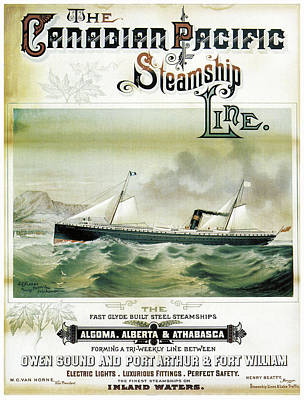 Finest Steamships On Inland Waters Poster