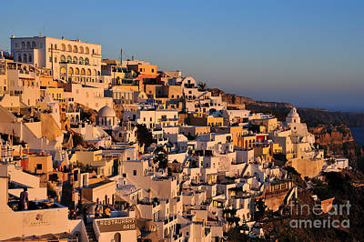 Fira Town During Sunset Poster by George Atsametakis