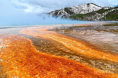 Fire And Ice - Grand Prismatic Spring On A Cloudy Day. Poster