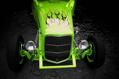 Hot Rod Poster featuring the photograph Fire And Water Green Version by Aaron Berg