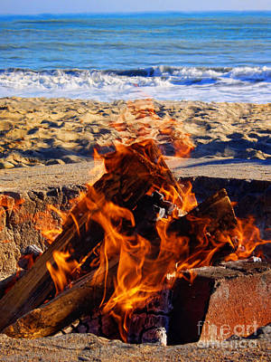 Fire At The Beach Poster