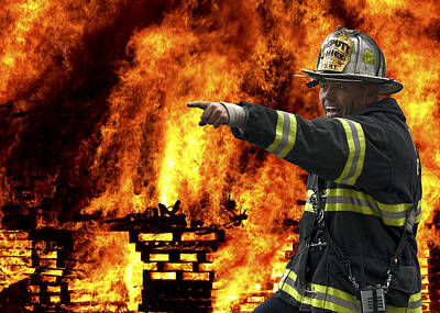 Fire Chief On The Scene Poster by Daniel Hagerman