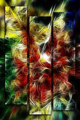 Poster featuring the digital art Fire Dancers Triptych by Selke Boris