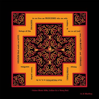 Fire Dragon Celtic Cross Poster