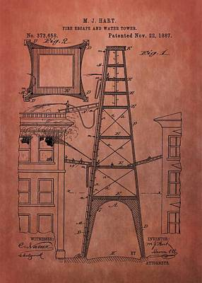 Fire Escape And Water Tower Patent Fireman Poster