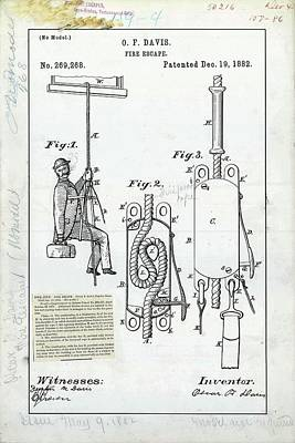 Fire Escape Patent Poster by Us Patent And Trademark Office