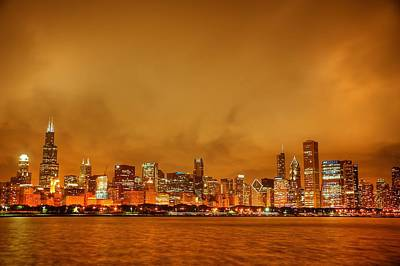 Fire In A Chicago Night Sky Poster