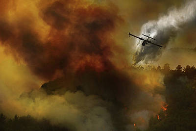 Fire In National Park Of Cilento (sa) - Italy Poster