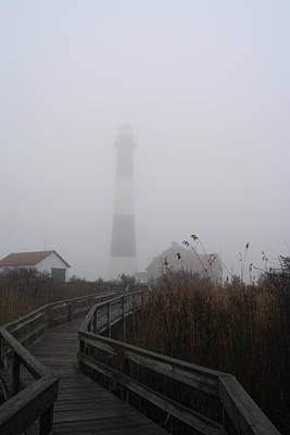 Fire Island Lighthouse In Fog Poster by Karen Silvestri