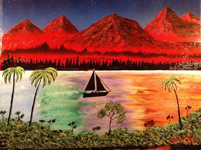 Poster featuring the painting Fire Mountain by Michael Rucker