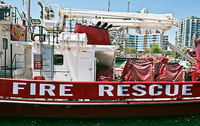 Poster featuring the photograph Fire Rescue Boat by Marek Poplawski