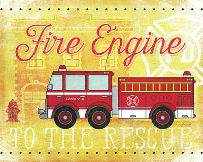 Fire Rescue Poster by Jennifer Pugh