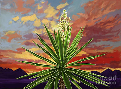 Fire Sky Desert Blooming Yucca Poster