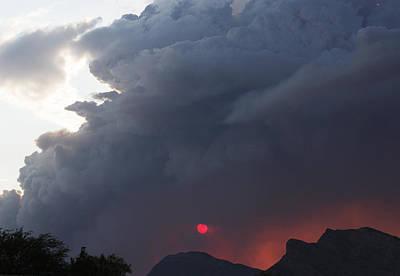 Fire Sunset Below Poster