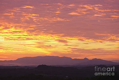 Fire Sunset Over Smoky Mountains Poster by Kay Pickens