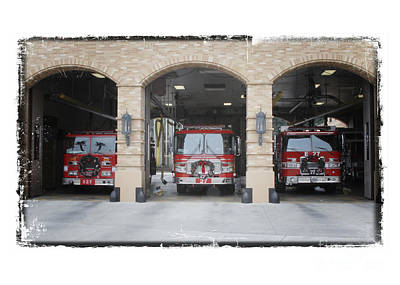 Fire Trucks At The Lafd Fire Station Are Decorated For Christmas Poster