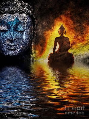 Fire Water Buddha Poster by Tim Gainey