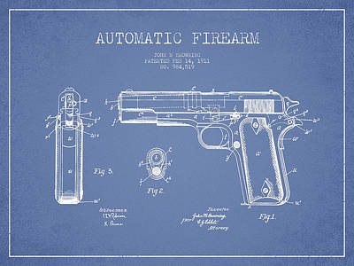 Firearm Patent Drawing From 1911 - Light Blue Poster