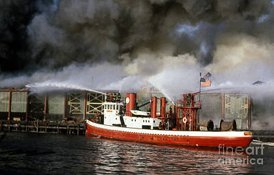 Fireboat Harvey In Action Poster