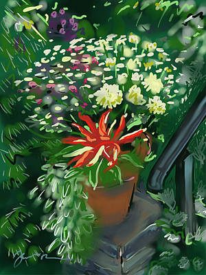 Poster featuring the painting Firecracker Peppers by Jean Pacheco Ravinski