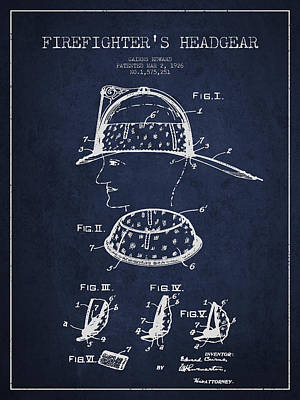 Firefighter Headgear Patent Drawing From 1926 Poster