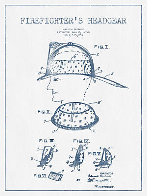Firefighter Headgear Patent Drawing From 1926- Blue Ink Poster