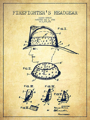 Firefighter Headgear Patent Drawing From 1926 - Vintage Poster