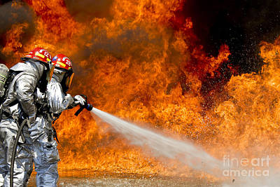 Firefighters Combat A Jp-8 Jet Fuel Poster