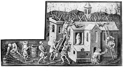 Firefighting, 1400s Poster by Granger