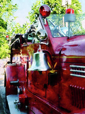 Fireman - Bell On Fire Engine Poster by Susan Savad