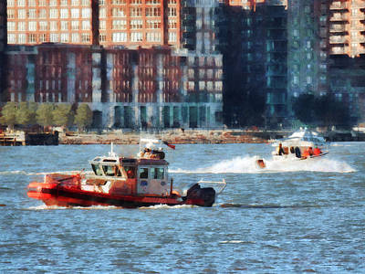 Fireman - Fire Rescue Boat Hudson River Poster by Susan Savad