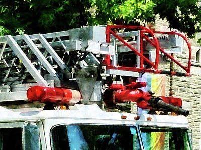 Fireman - Fire Truck Ladder Poster by Susan Savad