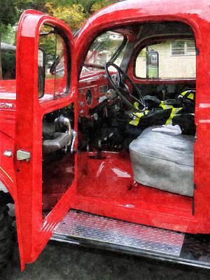 Fireman - Fire Truck With Fireman's Uniform Poster by Susan Savad